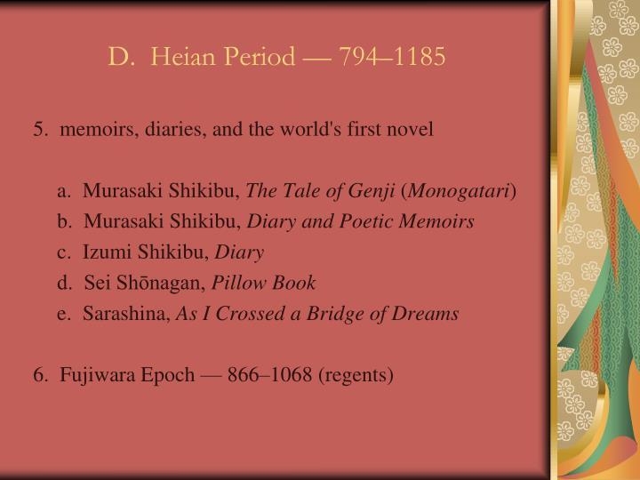 D.  Heian Period — 794–1185