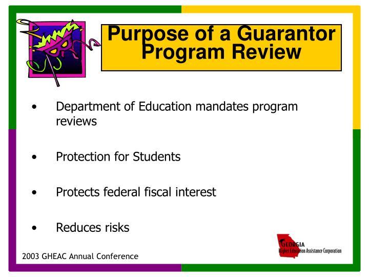 Department of Education mandates program reviews