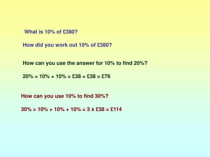 What is 10% of £380?