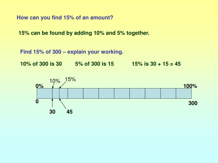 How can you find 15% of an amount?