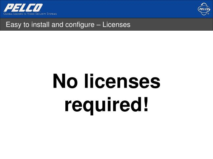 Easy to install and configure – Licenses