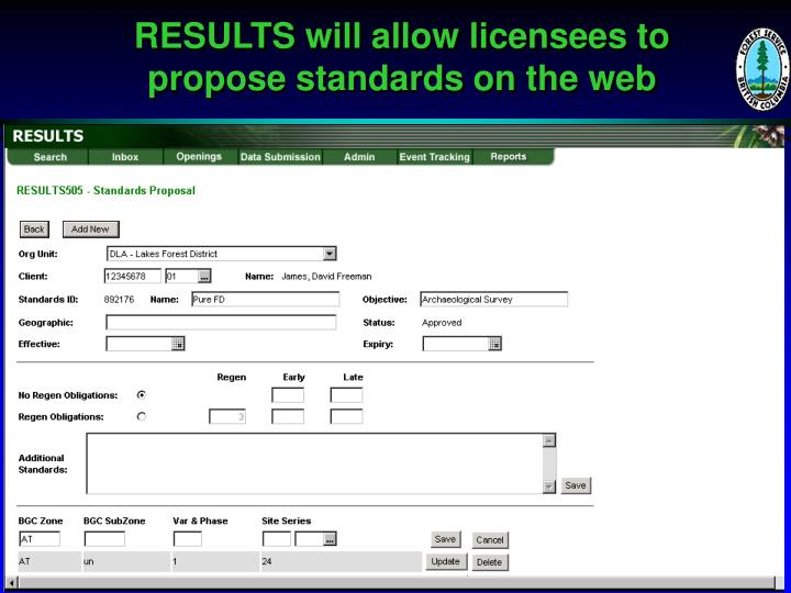 RESULTS will allow licensees to