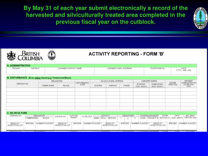 By May 31 of each year submit electronically a record of the harvested and silviculturally treated area completed in the