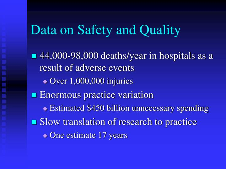 Data on Safety and Quality