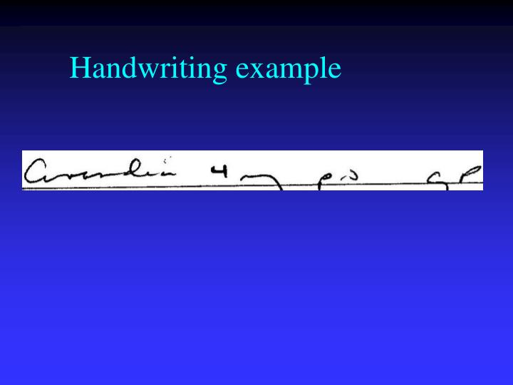 Handwriting example