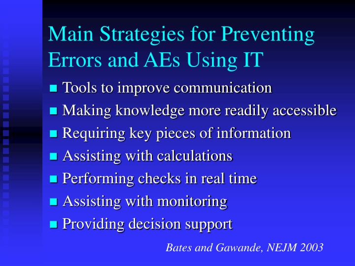 Main Strategies for Preventing Errors and AEs Using IT