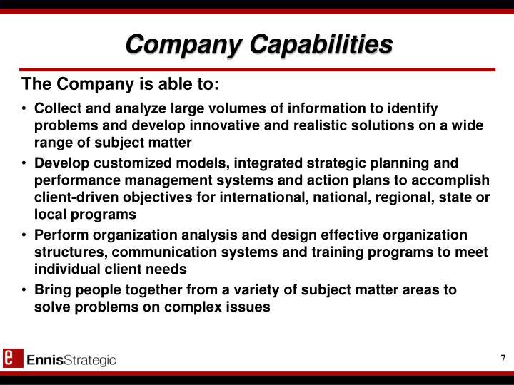 Company Capabilities