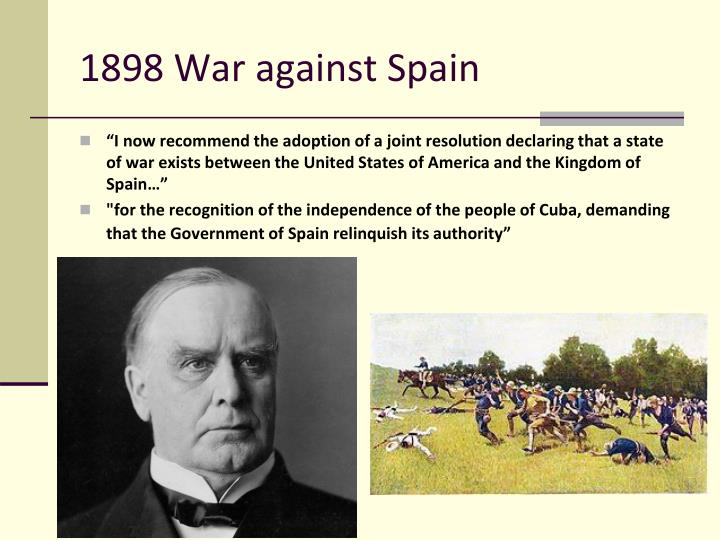 1898 War against Spain