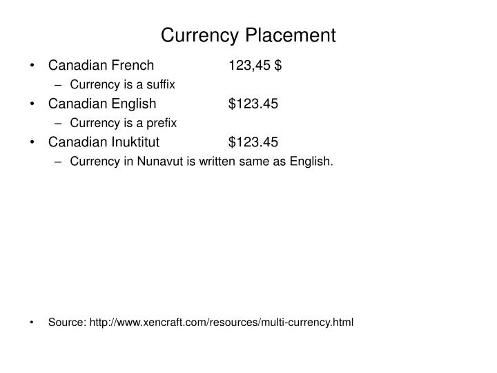 Currency Placement