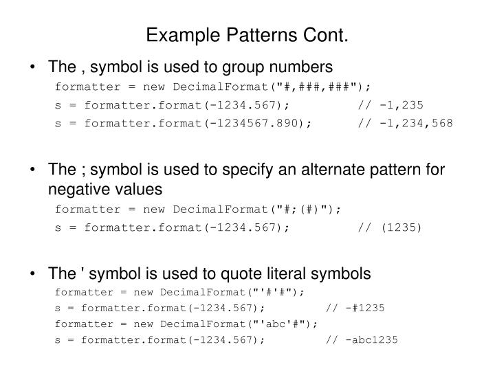 Example Patterns Cont.