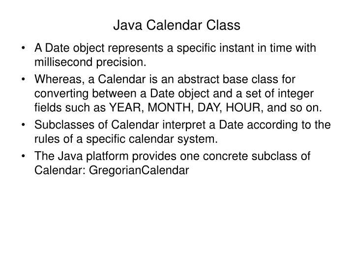 Java Calendar Class