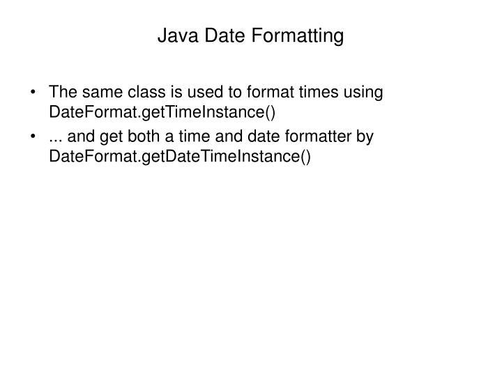 Java Date Formatting