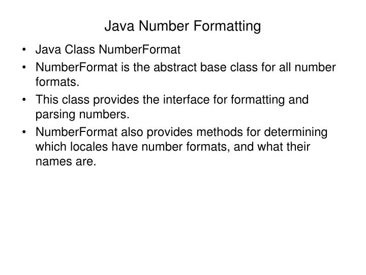 Java Number Formatting