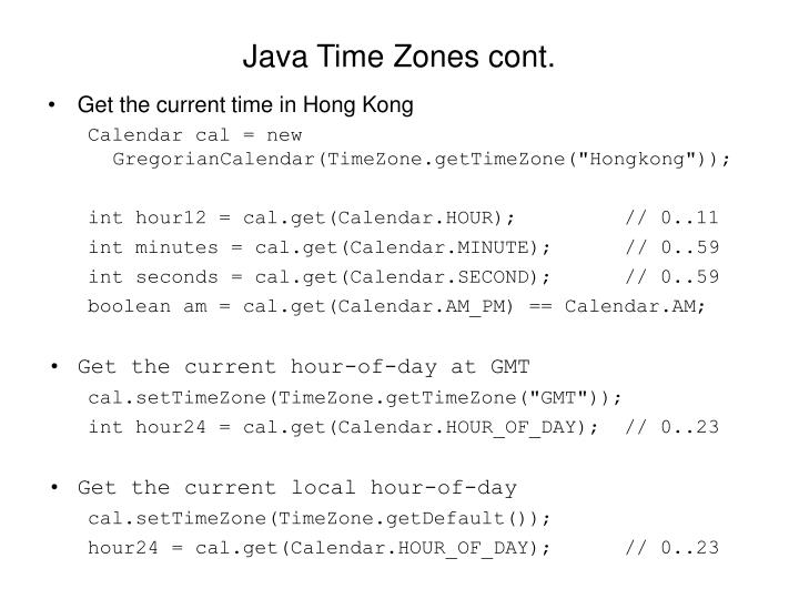 Java Time Zones cont.