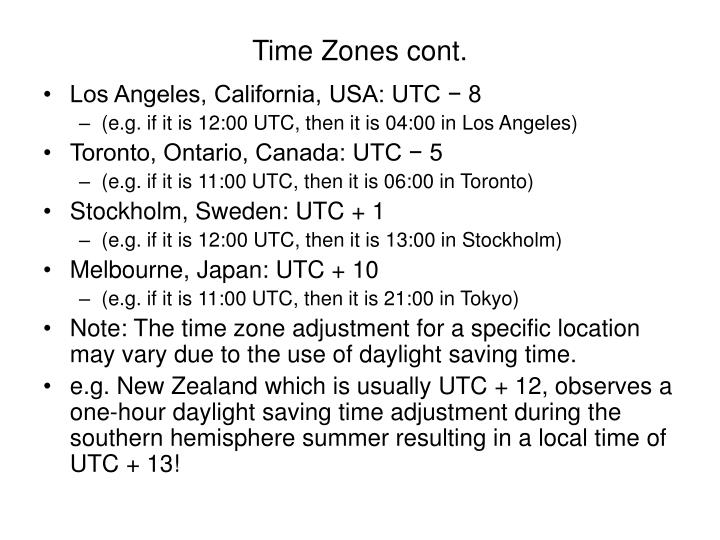Time Zones cont.