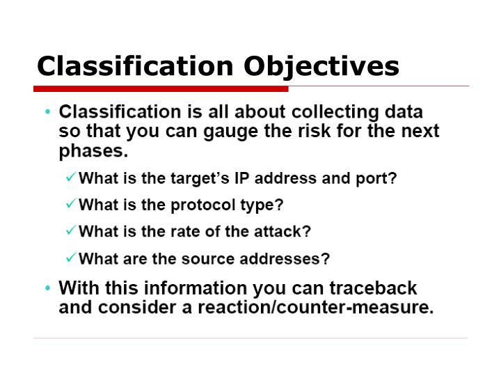 Classification Objectives