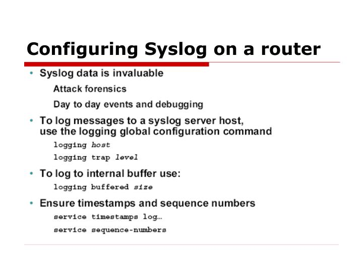 Configuring Syslog on a router