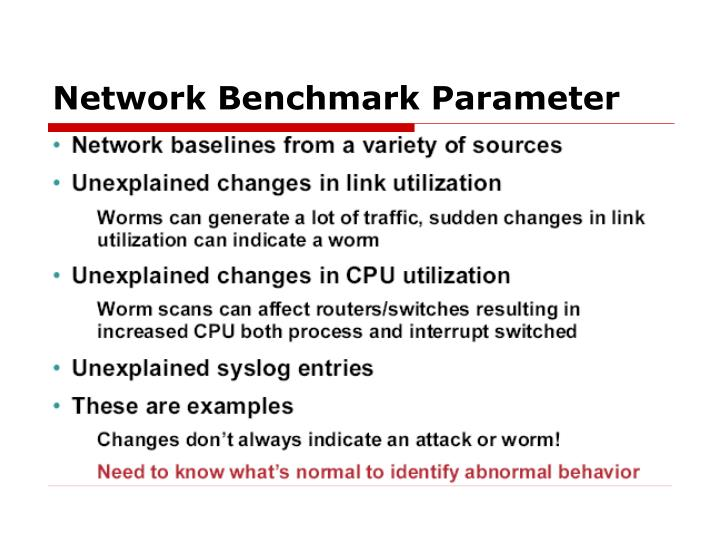 Network Benchmark Parameter