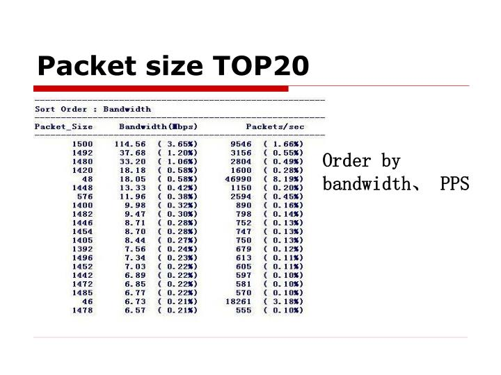 Packet size TOP20