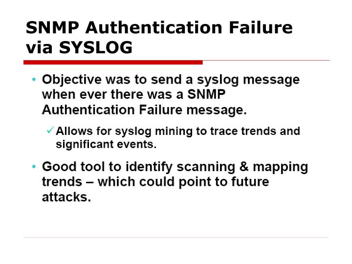 SNMP Authentication Failure