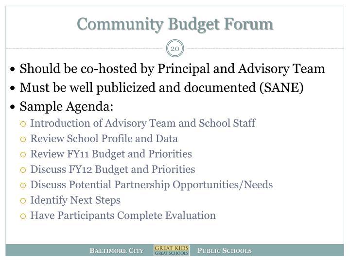Community Budget Forum