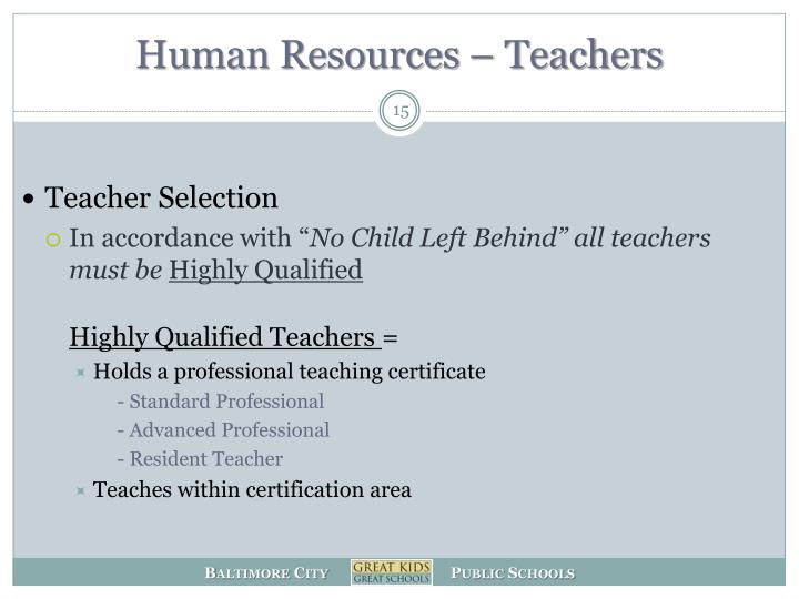 Human Resources – Teachers