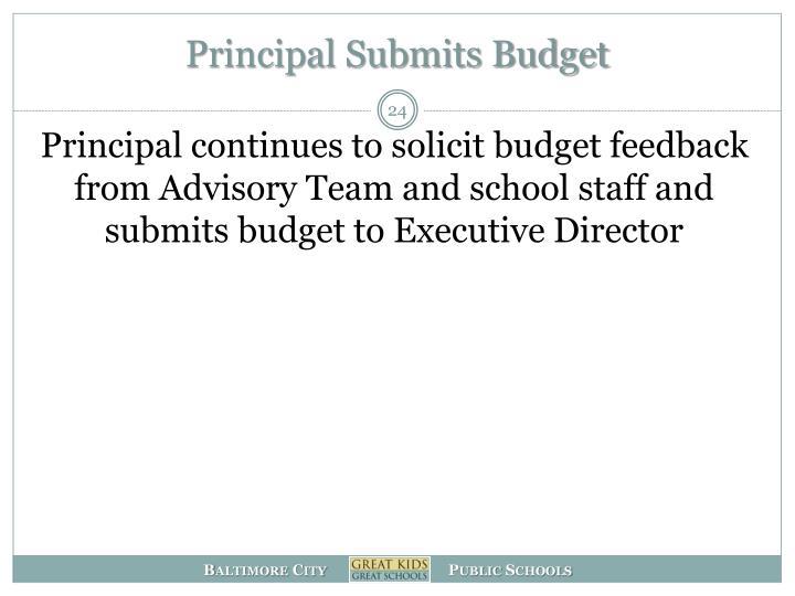 Principal Submits Budget