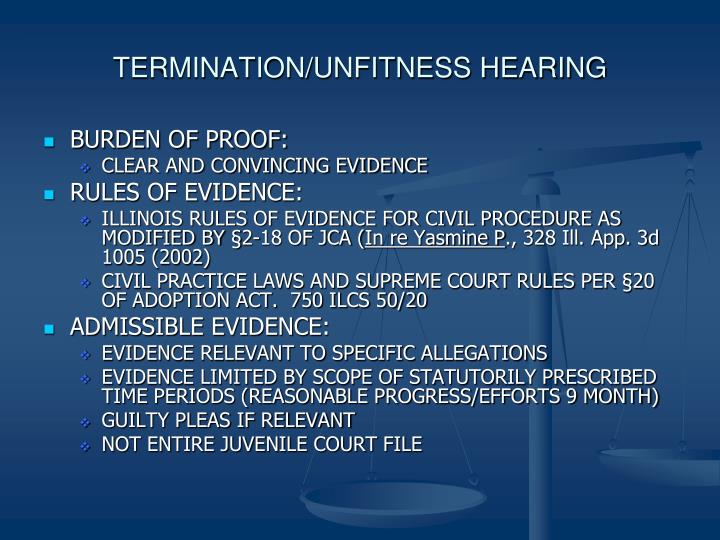 TERMINATION/UNFITNESS HEARING