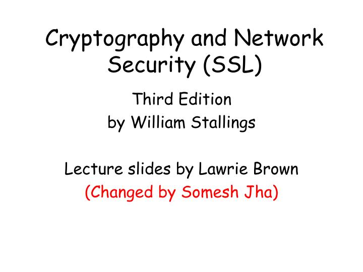 cryptography and network security ssl