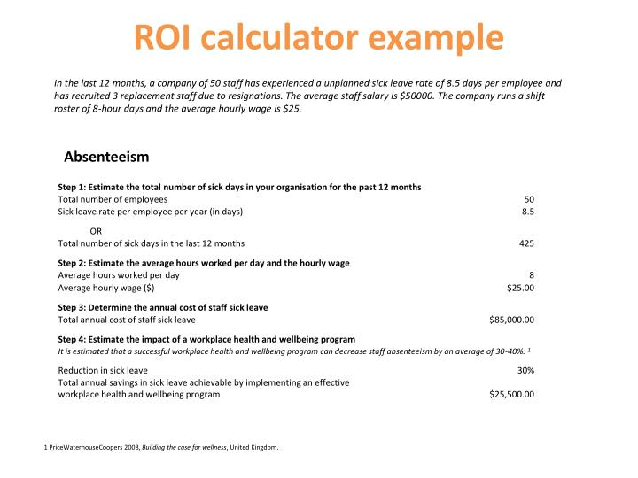 ROI calculator example
