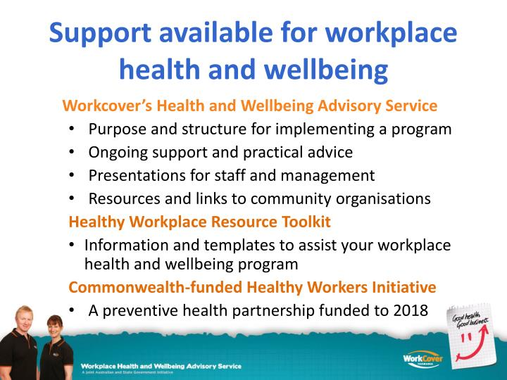 Support available for workplace health and wellbeing