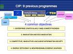 cip 9 previous programmes