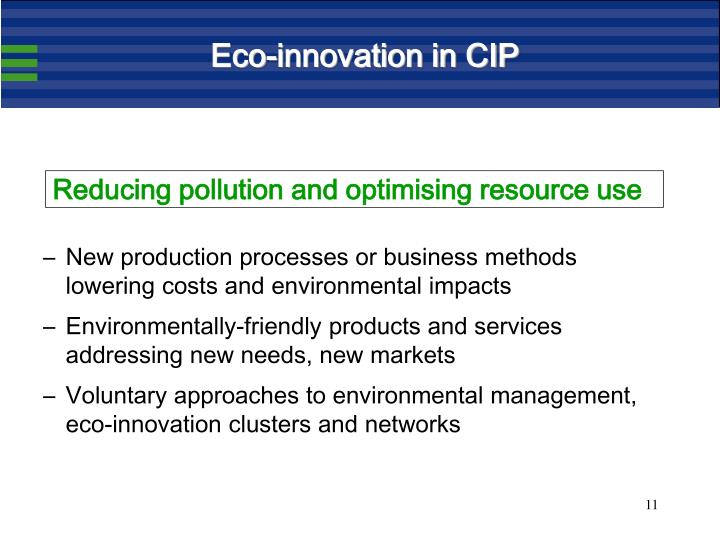 Eco-innovation in CIP