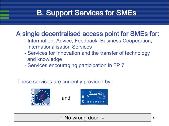B. Support Services for SMEs