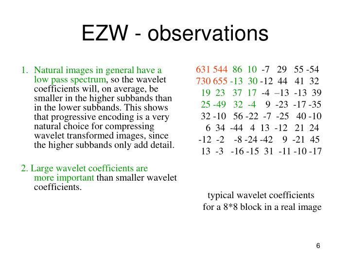 EZW - observations