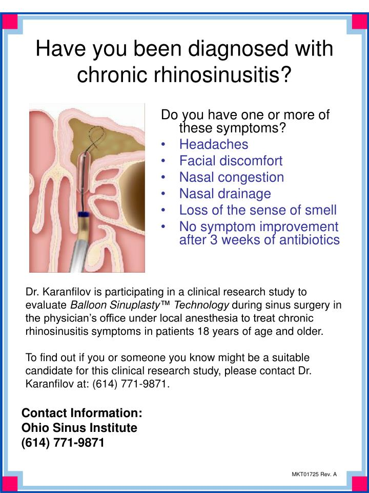 Have you been diagnosed with chronic rhinosinusitis