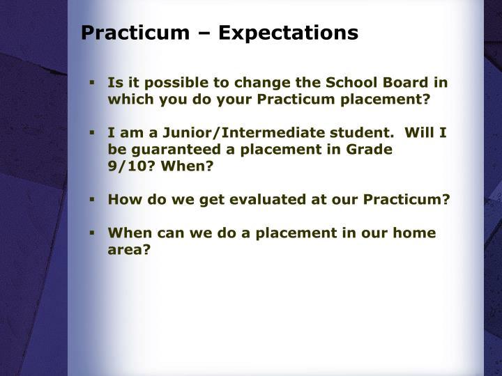 Practicum – Expectations