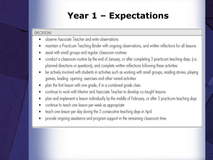 Year 1 – Expectations