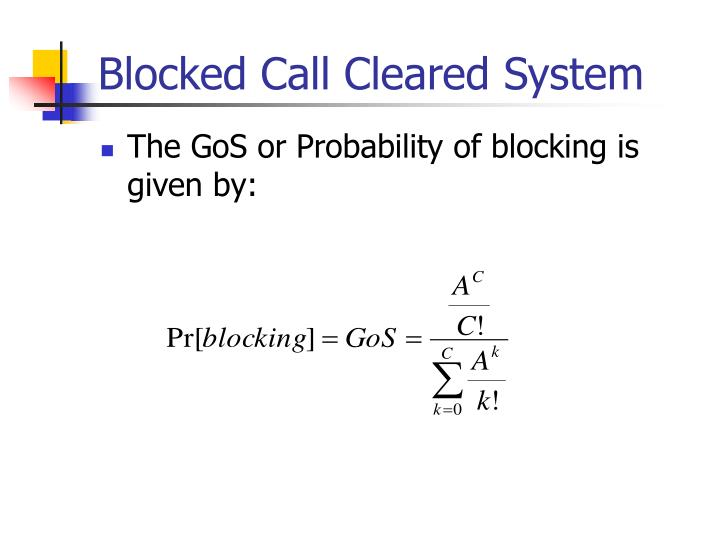 Blocked Call Cleared System