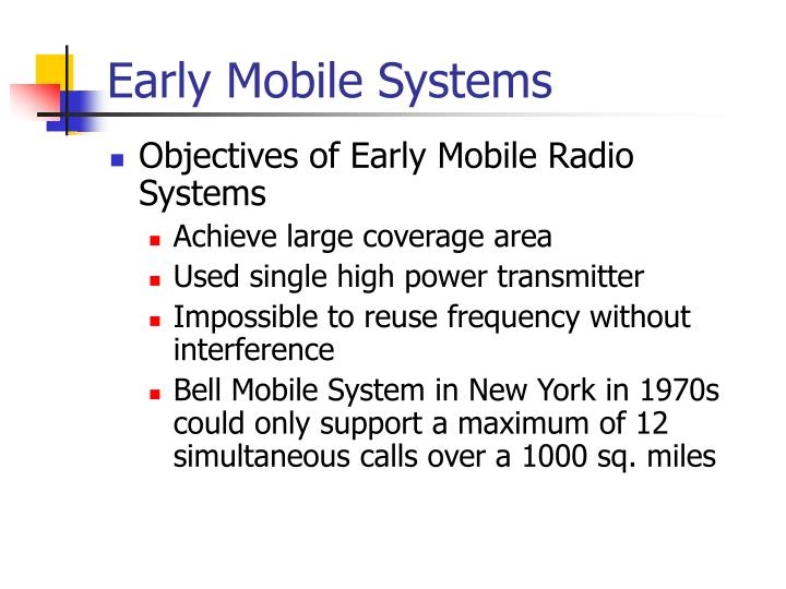 Early Mobile Systems