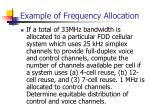 example of frequency allocation