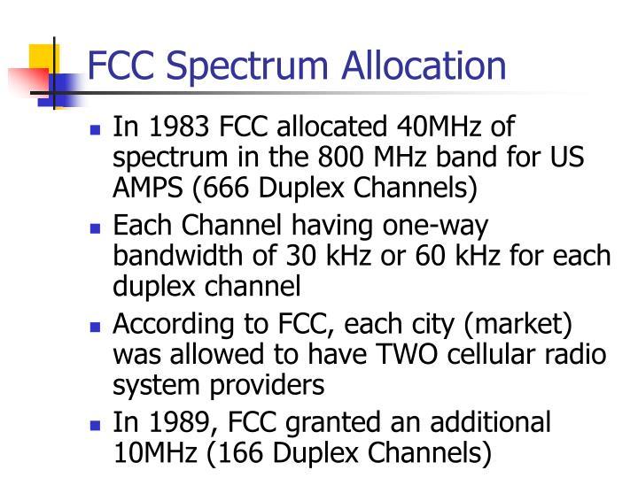 FCC Spectrum Allocation