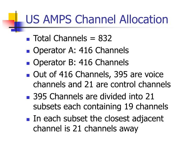 US AMPS Channel Allocation