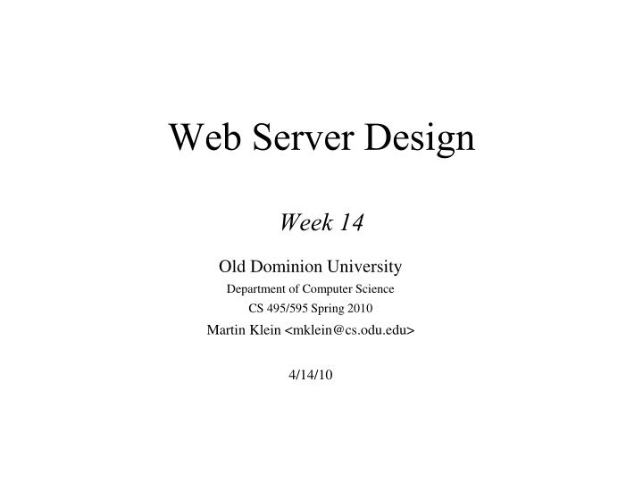 Web server design week 14