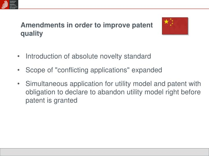 Amendments in order to improve patent quality