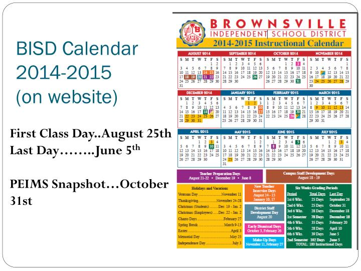 BISD Calendar 2014-2015 (on website)