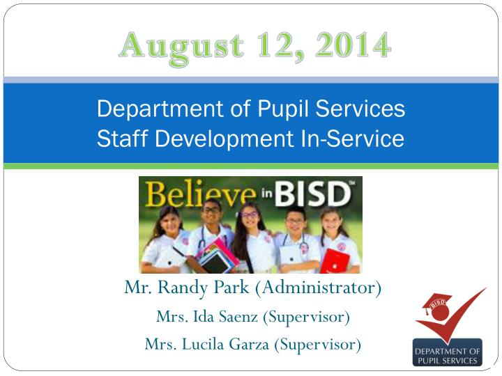 Department of pupil services staff development in service
