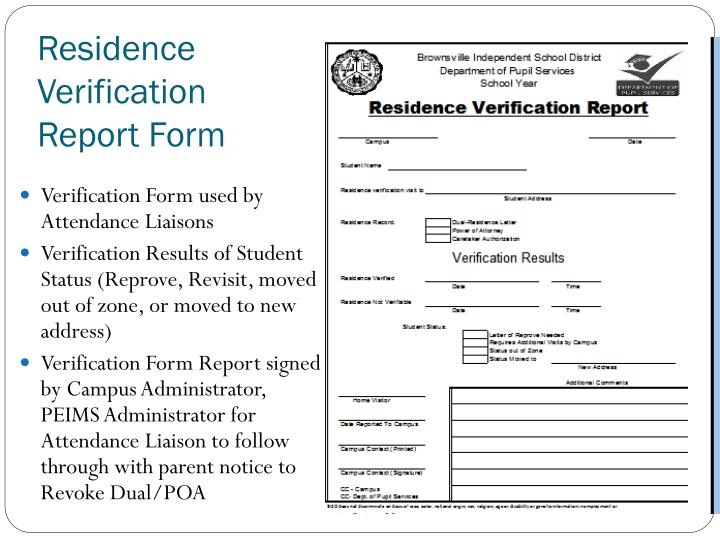 Residence Verification Report Form