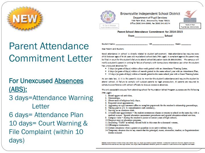 Parent Attendance Commitment Letter