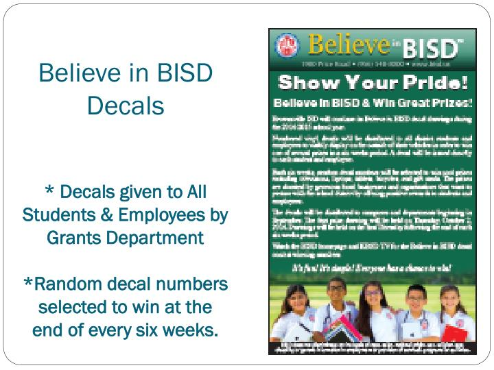 Believe in BISD Decals